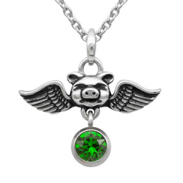 Birthstone Pig Necklace 'Pigs Can Fly' With Swarovski Crystal
