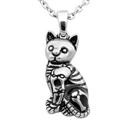 Kitty Cat Skeleton Necklace
