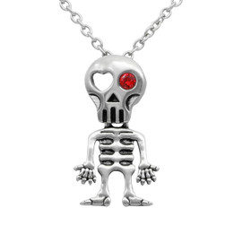 Love-Struck Red Eye Skeleton Necklace