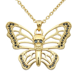 Butterfly Skull Gold-Plated Necklace