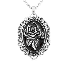 Rose Portrait Cameo Necklace