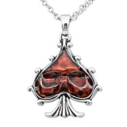 Skull Red Spade Necklace