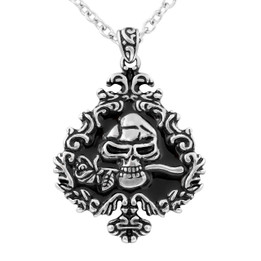 Skull and Rose Ivy Spade Necklace