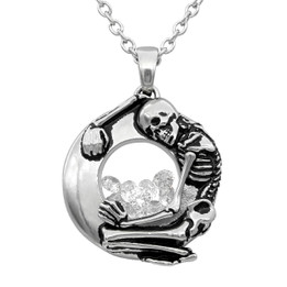 skeleton Floating Charm with White Swarovski Necklace