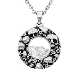 Skulls Floating Charm with White Swarovski Necklace