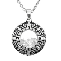 Compass Floating Charm with White Swarovski necklace