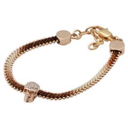 Skull Bracelet Rose Gold Skull Cotton Cord Bracelet