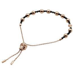 Skull Bracelet Rose Gold Skull Spinel Bead Pull-Chain Bracelet