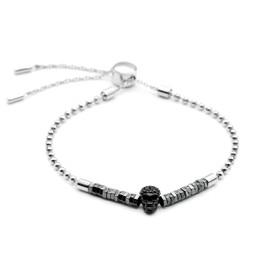Bead Bracelet Black Crushed Skull Beaded Pull-Chain Bracelet