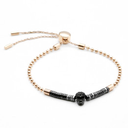 Skull Bracelet Rose Gold Pull-Chain & Black Crushed Skull Bracelet