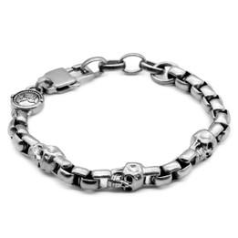 Skull Bracelet Stainless Steel Skull Box Chain Bracelet
