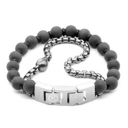 Skull Bracelet Skull Black Marble & Steel Box Chain Bracelet