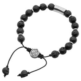 Bead Bracelet Lava Black Bead Pull-String Bracelet