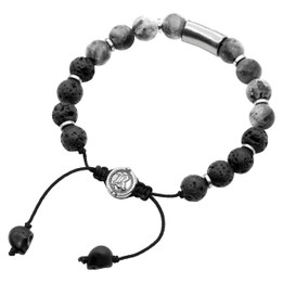 Bead Bracelet Black & Grey Beaded Pull-String Bracelet