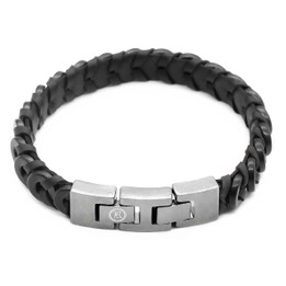 Leather Bracelet Black Braided Leather & Black Steel Bracelet