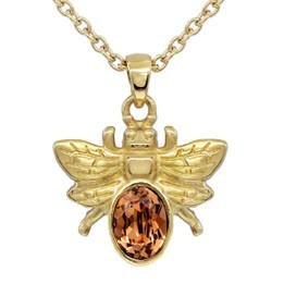 Golden Bee Necklace with Light Smoked Topaz Swarovski Crystal