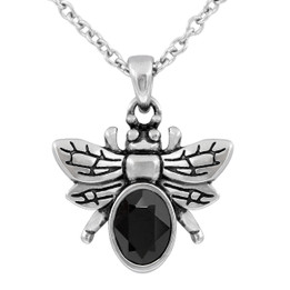 Dark & Bright Bee Necklace with Black Swarovski Crystal