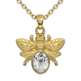 Golden Bee Necklace with White Swarovski Crystal