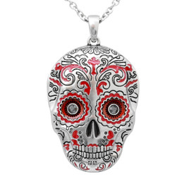 Red Sugar Skull Necklace with Swarovski Crystals - Muerte Roja