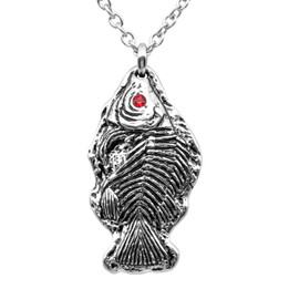 Red Crystal Eyed Fossil Fish Necklace