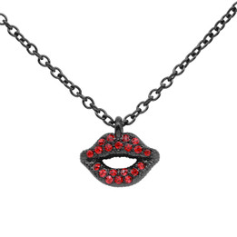 Daring Red & Black Lips Necklace