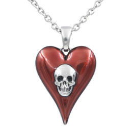 Passion Red Heart Skull Necklace