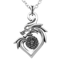 Dragon Necklace in Heart Sharped