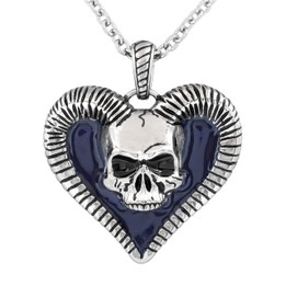 Horned Skull Heart Necklace