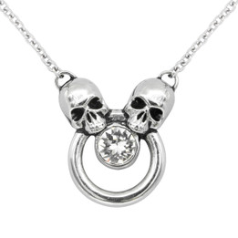 Siamese Skull Necklace with 5.2 mm Crystal