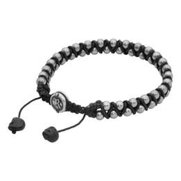 Steel Beaded Woven Cord Bracelet