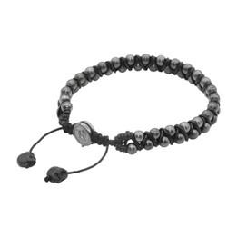 Black Beaded Woven Cord Bracelet