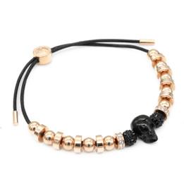 Black Skull & Rose Gold Pull Cord Bracelet