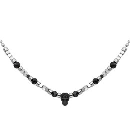 Black Spinel beads with Silver color hematite beads skull necklace