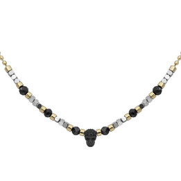 Black Spinel beads with Silver color hematite beads skull necklace - Gold plated