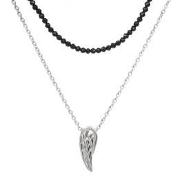 Black Spinel Beaded Steel wing double chain necklace