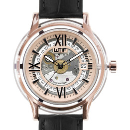 Automatic Swiss Movement Luxury Watch with Sapphire Crystal Case and Italian Leather Strap - Rose Gold Frame with Black Strap