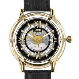 Automatic Swiss Movement Luxury Watch with Sapphire Crystal Case and Italian Leather Strap - Gold Frame with Black Strap