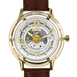 Automatic Swiss Movement Luxury Watch with Sapphire Crystal Case and Italian Leather Strap - Gold Frame with Brown Strap