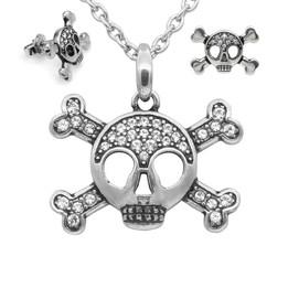 Studded Skull & Crossbones Necklace & Earrings Set