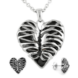 Heart Rib Cage Necklace & Earrings Set