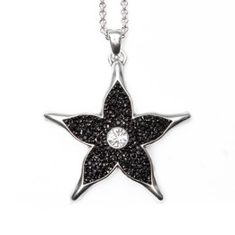 Silver Plated Illuminating Black Star Necklace