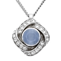 Silver Plated Center Cat's Eye Gem Necklace