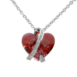 Fiery Magma Red Captivated Heart Necklace