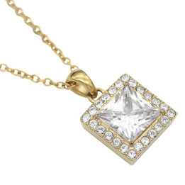 Gold Plated Necklace with 4.25 Ct. Square CZ and 24 Swarovski Crystals Necklace