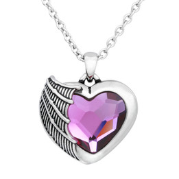 Heart Necklace - Purple Swarovski Crystal
