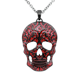 Red Skull Necklace with Black Ion Plating - Special Collection!