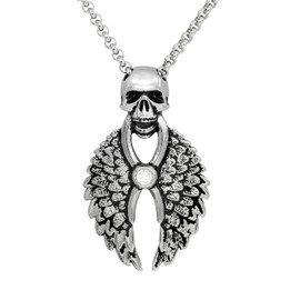 Skull Wing Necklace with Swarovski crystal