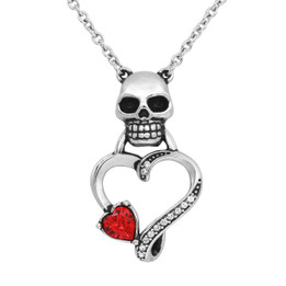 Skull Heart Necklace with Swarovski crystal - Guardian Of Your Heart