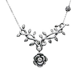 Rose Vine with White CZ Necklace