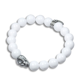 Skull and Stones( white ) Stretch Bracelet